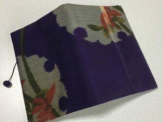 0310    ★再販★    着物リメイク    文庫サイズブックカバー    雪輪に花模様の画像