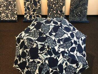 藍型染日傘 お守りシリーズ・ホロホロ鳥の画像