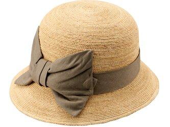 Mina ミーナ ラフィア 子供用 前リボン 女優帽 54cm ナチュラル×カーキ [UK-H011-MIKH54]の画像