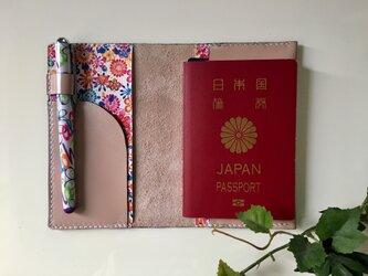 パスポートケース☆パールピンク×花柄♫の画像
