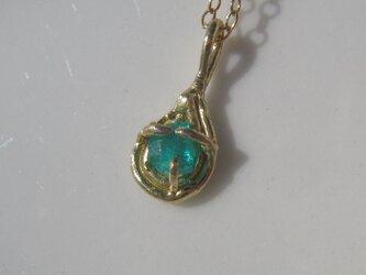 ブルーイッシュグリーンパライバトルマリンのネックレスの画像