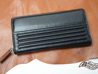 シャーリング風ラウンドファスナー長財布【日本製】の画像