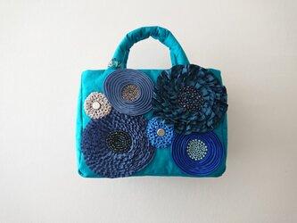 blue ribbon flower mini standard bagの画像