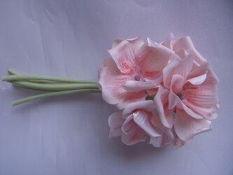 桜色のゼラニウムコサージュの画像
