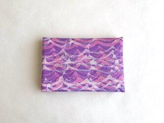 絹手染カード入れ(波・ピンク紫)の画像