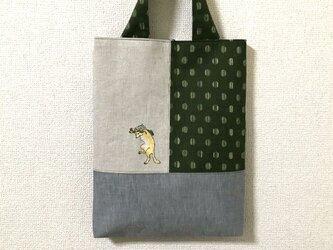 浮世絵刺繍バッグ*小原古邨の「踊る狐」の画像
