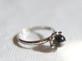 (一点もの)ブラックトルマリンクォーツのリング(フリーサイズ・シルバー)の画像
