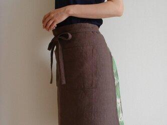 ☆リネン:丈56cm ダークモカのカフェエプロン☆の画像