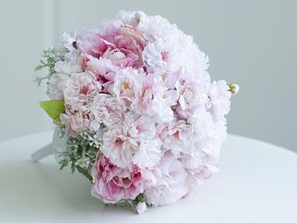 【ブートニア・ヘッドパーツ付き】桜のブーケセット アーティフィシャルフラワー(造花)前撮り 海外ロケフォトの画像