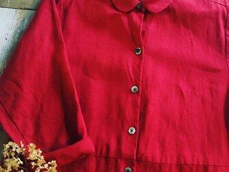【受注生産】リネンのラボ・ロングドレス #レッドの画像