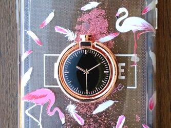 流れるグリッターケース ピンクフラミンゴ スマホリング付きの画像