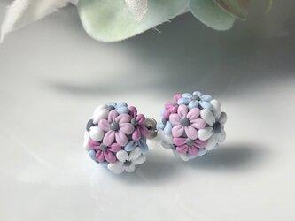 『送料無料』half flower ball ピアス <イヤリング可> 1.0㎝ / ポリマークレイの画像