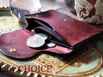 イタリアンレザー・革新のプエブロ・ミニマム財布(コッチネラ×ネイビー)の画像