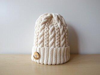ミルクホワイトなコットンウールのニット帽【再販】の画像
