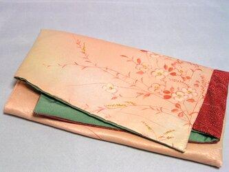 素襖袋  壱)化繊と正絹の着物から作りました 抹茶色の内袋の画像
