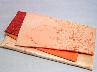 素襖袋  弐)化繊と正絹の着物から作りました オレンジの内袋の画像