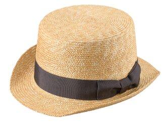 Olga オルガ 麦わら シルクハット型 カンカン帽 グレー 57.5cm [UK-H076-GY]の画像