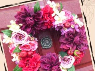 artificial flowerリースの画像