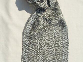 手織りマフラー 模様織り ベージュ 黒 春夏用  MUF109B 男女共用 プレゼントの画像