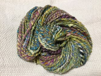 【手紡ぎ糸(スピンドル)の販売です✨】  メリノウール シルク その他 72gの画像