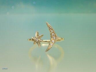 月と星のリング ダイヤモンドの画像