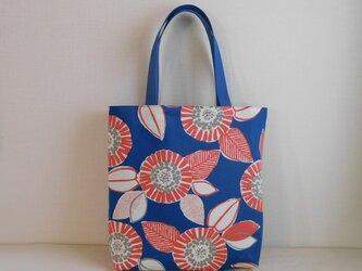 北欧風 花柄 バッグ ブルーの画像