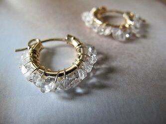 4月誕生石 Herkimer Diamond フープピアスorイヤリングの画像