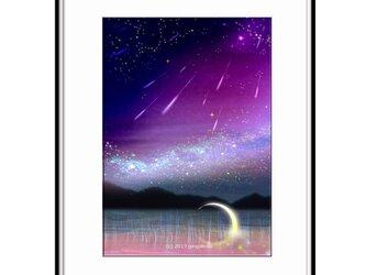 「ファンタジーが降ってくる夜」 ほっこり癒しのイラストA4サイズポスターNo.632の画像