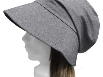 鹿の子織コットンニット/つば広女優帽子(ゆったり)◆杢グレー系の画像