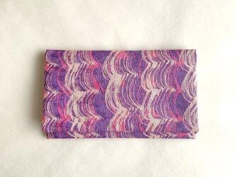絹手染懐紙入れ(縦波・ピンク紫)の画像