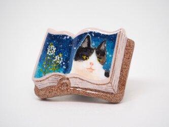 絵本みたいな陶土のブローチ《ぺんぺん猫》の画像