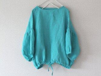 【春NEWカラー入荷】リネン裾ギャザープルオーバー ターコイズ/リトアニアリネン100%の画像