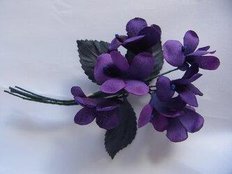 濃い紫色のスミレコサージュの画像