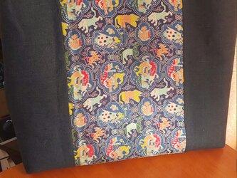 龍村の織物と紺の紬で手提げの画像
