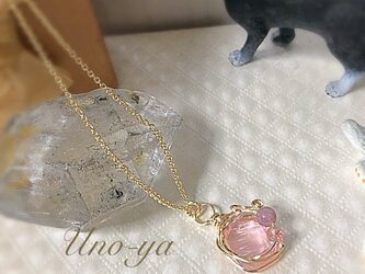 14kgf/アンダラクリスタル (ピンク)のプチネックレスの画像