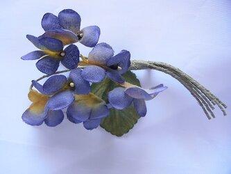 青紫×黄色のスミレコサージュの画像