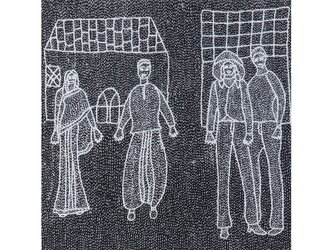 Archana Kumari 手刺繍クッションカバー(都会の生活・村の生活/黒)の画像