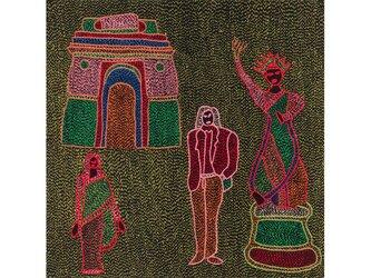 Archana Kumari 手刺繍クッションカバー(インドの彫像/マルチカラー)の画像