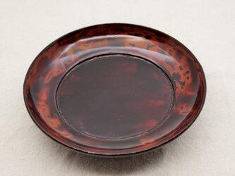 椿皿 弁柄朱溜塗り研出しの画像