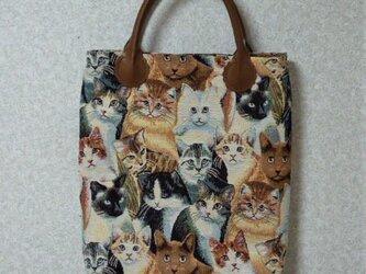 ゴブラン織りの大きめトートバッグ(猫ちゃんいっぱい)の画像