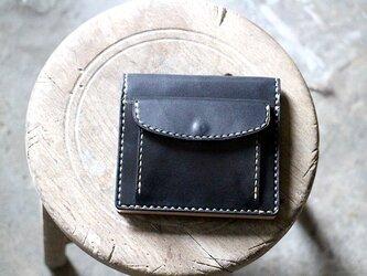 【受注生産品】コインが取り出しやすい二つ折り財布 ~栃木ブラックサドル×栃木ヌメ~の画像