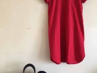 コットン100シンプル半袖ワンピース(アカ)の画像