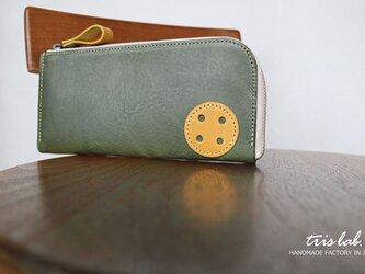 """ちいさな長財布 """"おっきなボタン"""" イタリアレザーの画像"""