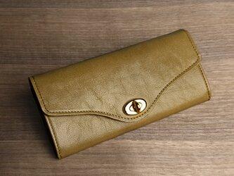【送無】一点物!革の長財布 ---ひねり金具がかわいい人気の形 [カラシ色]の画像