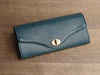 【送無】一点物!革の長財布 ---ひねり金具がかわいい人気の形 [ピーコックブルー色]の画像