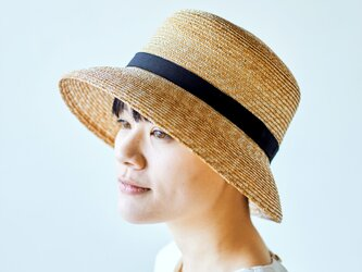 Casablanca カサブランカ つば広 麦わら帽子 ストローハット 帽子 ブラック [UK-H042-NA-L]の画像