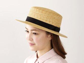 マラン・フェム 麦わら カンカン帽子 女性用 グログランブラック 57.5cm [UK-H043-NA]の画像