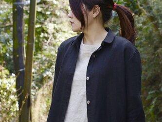 ブラックリネンのシャツワンピースの画像