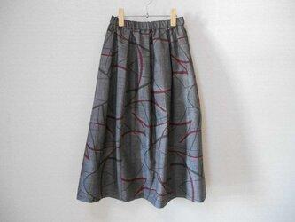再販★大島紬のリメイクスカート★裏地付の画像