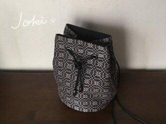 再販  巾着 bag[手織りオーバーショット織 巾着バッグ]ブラック×グレーの画像